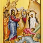 Ilustrasi ketika Yesus (Nabi Isa as) membangkitkan Lazarus yang terkubur dengan cara di kafani