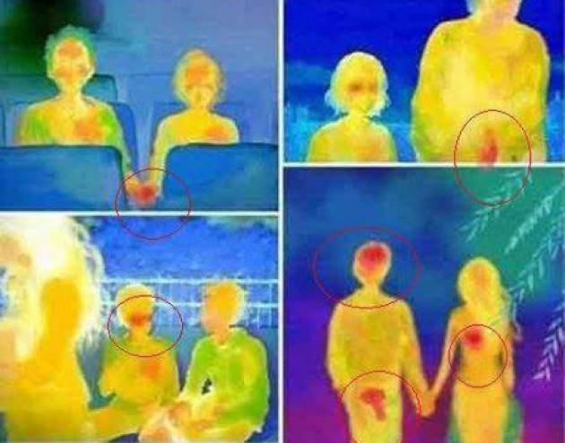 Ilustrasi titik merah yang ditangkap X Ray di saat pria-wanita bersentuhan