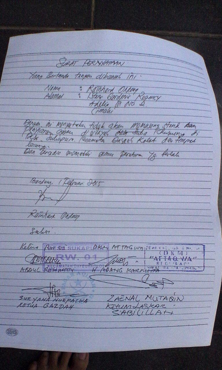 Surat Pernyataan Pelaku Tidak Akan Mengulangi Lagi