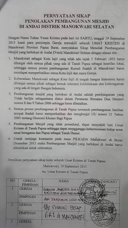 Beredar surat pelarangan oleh gereja terhadap pembangunan masjid di manokwari papua