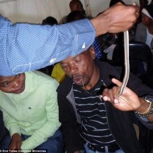 Jema'at gereja sedang menelan hidup-hidup seekor ular