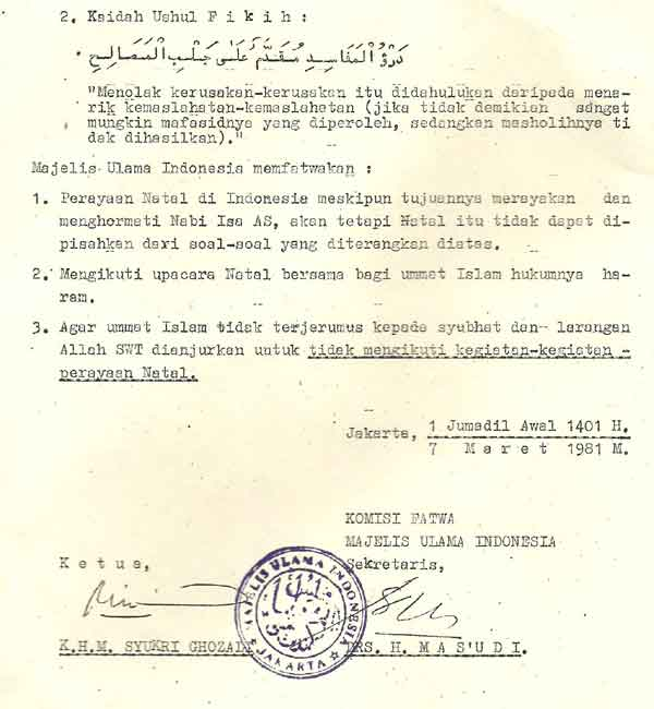 Fatwa MUI Tahun 1981
