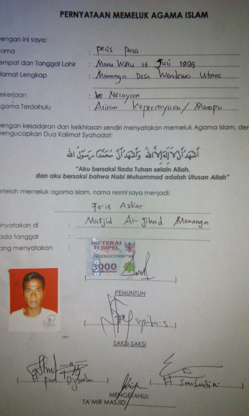 Sertifikat tanda bukti telah masuk Islam.