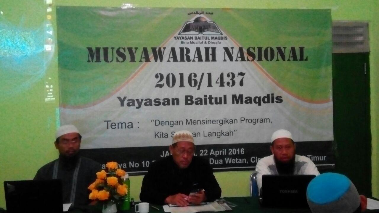 Jajaran Pengurus Yayasan Baitul Maqdis ketika memimpin musyawarah nasional 2016.