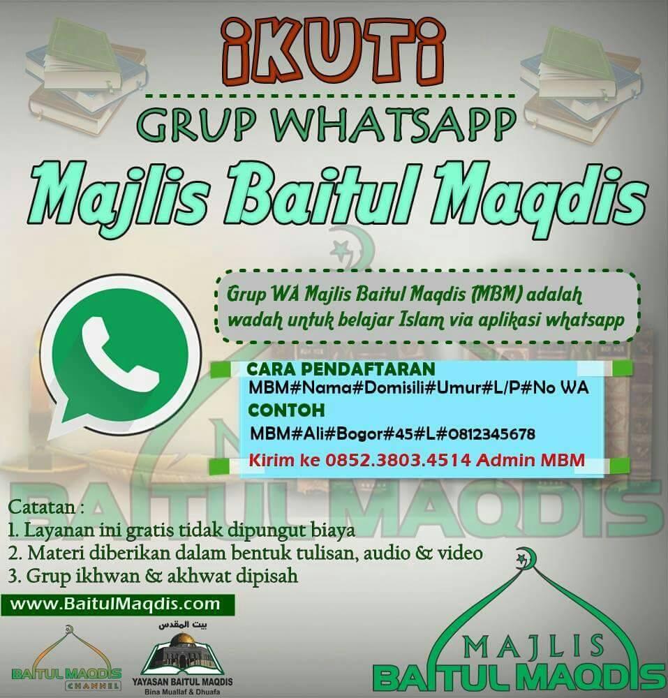 Ayo Gabung di Grup Kajian Whatsapp MAJLIS BAITUL MAQDIS